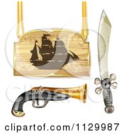 Clipart Of A Pirate Ship Sign With A Gun And Sword Royalty Free Vector Illustration by merlinul