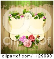 Clipart Of A Rose Flower Frame And Wood Background With Grunge 2 Royalty Free Vector Illustration by merlinul