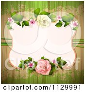 Rose Flower Frame And Wood Background With Grunge 1
