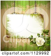 Clipart Of A Frame White Rose Flower And Wood Background With Grunge Royalty Free Vector Illustration