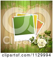 Clipart Of A White Rose Flower And Wood Background With Pinned Photos Royalty Free Vector Illustration