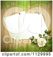 Clipart Of A White Rose Flower And Wood Background With Pinned Pages Royalty Free Vector Illustration