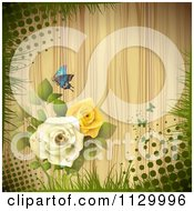 Butterfly Rose Flower And Wood Background With Halftone