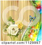 Butterfly Rose Flower And Wood Background With Rainbows