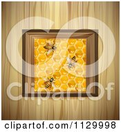 Clipart Of Bees On A Honey Comb Square Over Wood Royalty Free Vector Illustration