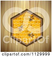 Clipart Of Bees On A Honey Comb Hexagon Over Wood Royalty Free Vector Illustration