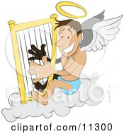 Male Angel With A Halo And Wings Sitting On A Cloud And Playing A Harp Clipart Illustration by AtStockIllustration