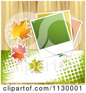 Clipart Of A Background Of Autumn Leaves Photos Halftone And Wood Royalty Free Vector Illustration by merlinul