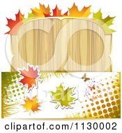 Clipart Of A Background Of Autumn Leaves Halftone And A Wood Sign Royalty Free Vector Illustration