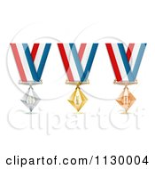 Clipart Of Silver Bronze And Gold Place Award Medals Royalty Free Vector Illustration