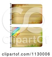 Clipart Of Two Wooden Signs With Halftone Grass And A Rainbow Royalty Free Vector Illustration by merlinul