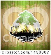 Clipart Of A Tree With Flames On Wood With Green Grunge Royalty Free Vector Illustration by merlinul