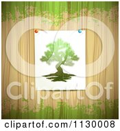 Clipart Of A Picture Of A Tree Tacked To Wood With Green Grunge Royalty Free Vector Illustration by merlinul