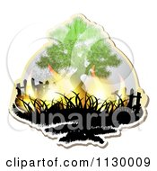 Clipart Of A Tree With Flames Royalty Free Vector Illustration by merlinul