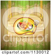 Clipart Of A Roasted Chicken Wood Sign Over Grain And Grunge Royalty Free Vector Illustration