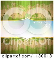 Clipart Of A Blue Frame On Wood With Green Grunge And Clovers Royalty Free Vector Illustration