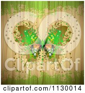Clipart Of A Butterfly Over Wood With Green Grunge Royalty Free Vector Illustration
