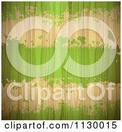 Clipart Of Green Grunge And Clovers On Wood Grain Royalty Free Vector Illustration