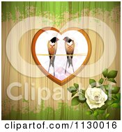 Clipart Of Love Birds In A Heart Over Wood With Grunge And A Rose Royalty Free Vector Illustration