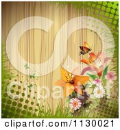 Clipart Of A Butterfly Lily Flower And Wood Background With Halftone Royalty Free Vector Illustration