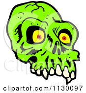 Cartoon Of A Green Alien Skull 1 Royalty Free Vector Clipart by lineartestpilot