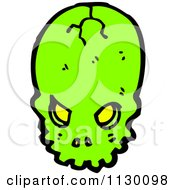 Cartoon Of A Cracked Green Skull Royalty Free Vector Clipart by lineartestpilot