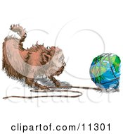 Poster, Art Print Of Fat Cat Pulling String Off Of The World