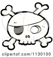 Cartoon Of A Pirate Skull With Crossbones 1 Royalty Free Vector Clipart by lineartestpilot