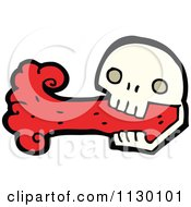 Cartoon Of A Skull Spurting Blood 4 Royalty Free Vector Clipart by lineartestpilot