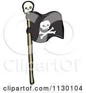 Cartoon Of A Black Jolly Roger Pirate Flag With Skull And Crossbones Royalty Free Vector Clipart