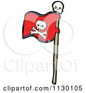 Cartoon Of A Red Jolly Roger Pirate Flag With Skull And Crossbones Royalty Free Vector Clipart by lineartestpilot