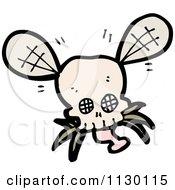 Cartoon Of A Skull Bug Fly 4 Royalty Free Vector Clipart
