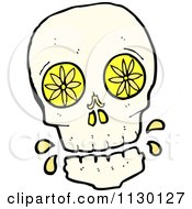 Cartoon Of A Skull With Lemon Slices And Drops Royalty Free Vector Clipart by lineartestpilot
