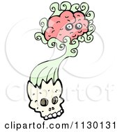 Cartoon Of A Brain Bursting From A Skull 1 Royalty Free Vector Clipart by lineartestpilot