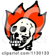 Cartoon Of A Human Skull With Flames 6 Royalty Free Vector Clipart