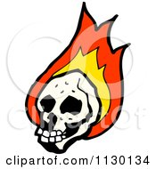Cartoon Of A Human Skull With Flames 7 Royalty Free Vector Clipart