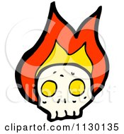 Cartoon Of A Human Skull With Flames 8 Royalty Free Vector Clipart
