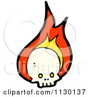 Cartoon Of A Human Skull With Flames 9 Royalty Free Vector Clipart