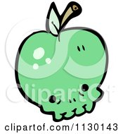 Cartoon Of A Green Apple Skull Royalty Free Vector Clipart by lineartestpilot