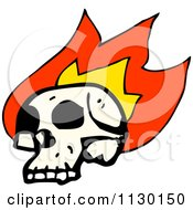 Cartoon Of A Human Skull With Flames 12 Royalty Free Vector Clipart