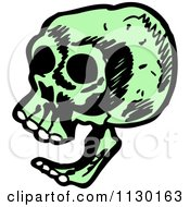 Cartoon Of A Laughing Green Skull Royalty Free Vector Clipart
