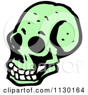 Cartoon Of A Green Skull 10 Royalty Free Vector Clipart