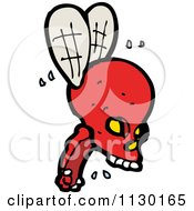 Cartoon Of A Red Skull With Wings Royalty Free Vector Clipart by lineartestpilot