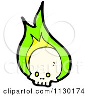 Cartoon Of A Human Skull With Green Flames 4 Royalty Free Vector Clipart