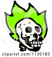 Cartoon Of A Human Skull With Green Flames 6 Royalty Free Vector Clipart