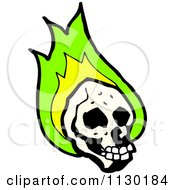 Cartoon Of A Human Skull With Green Flames 7 Royalty Free Vector Clipart