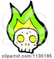 Cartoon Of A Human Skull With Green Flames 8 Royalty Free Vector Clipart