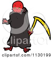 Cartoon Of A Red Skulled Grim Reaper Royalty Free Vector Clipart by lineartestpilot