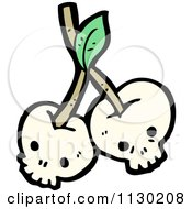 Cartoon Of A Skull Cherries 2 Royalty Free Vector Clipart by lineartestpilot
