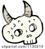 Cartoon Of An Alien Skull With Horns Royalty Free Vector Clipart by lineartestpilot